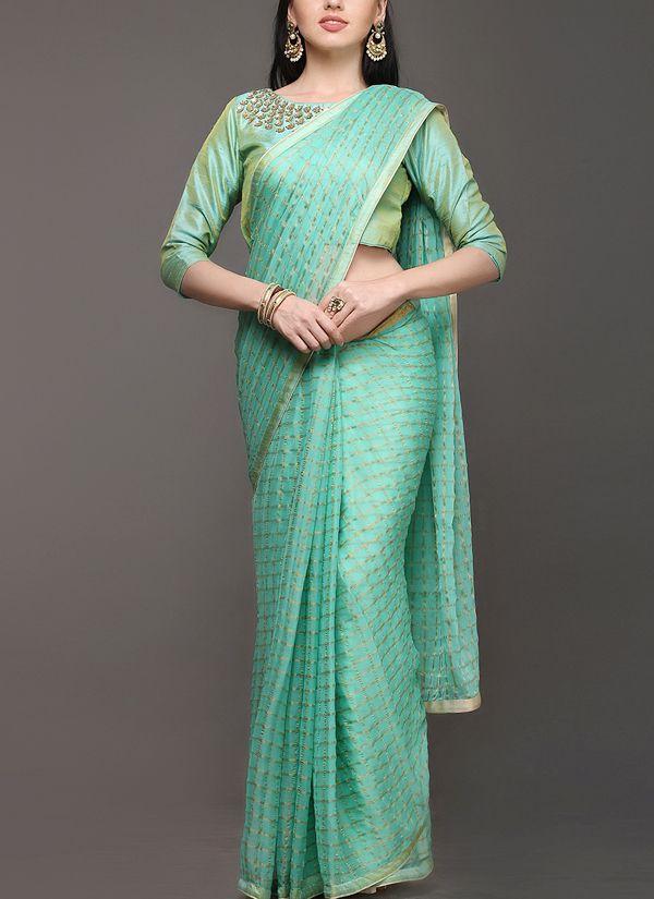55597f02a78a01 Indian Fashion Designers - Kyra - Contemporary Indian Designer - Gold Bloom  Saree