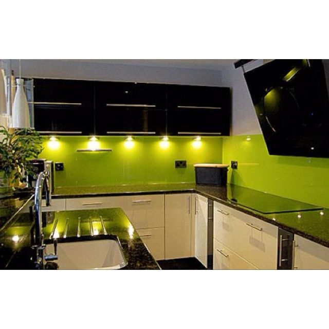 Modern Kitchen Green black and lime green kitchen. i'd have all cupboards black