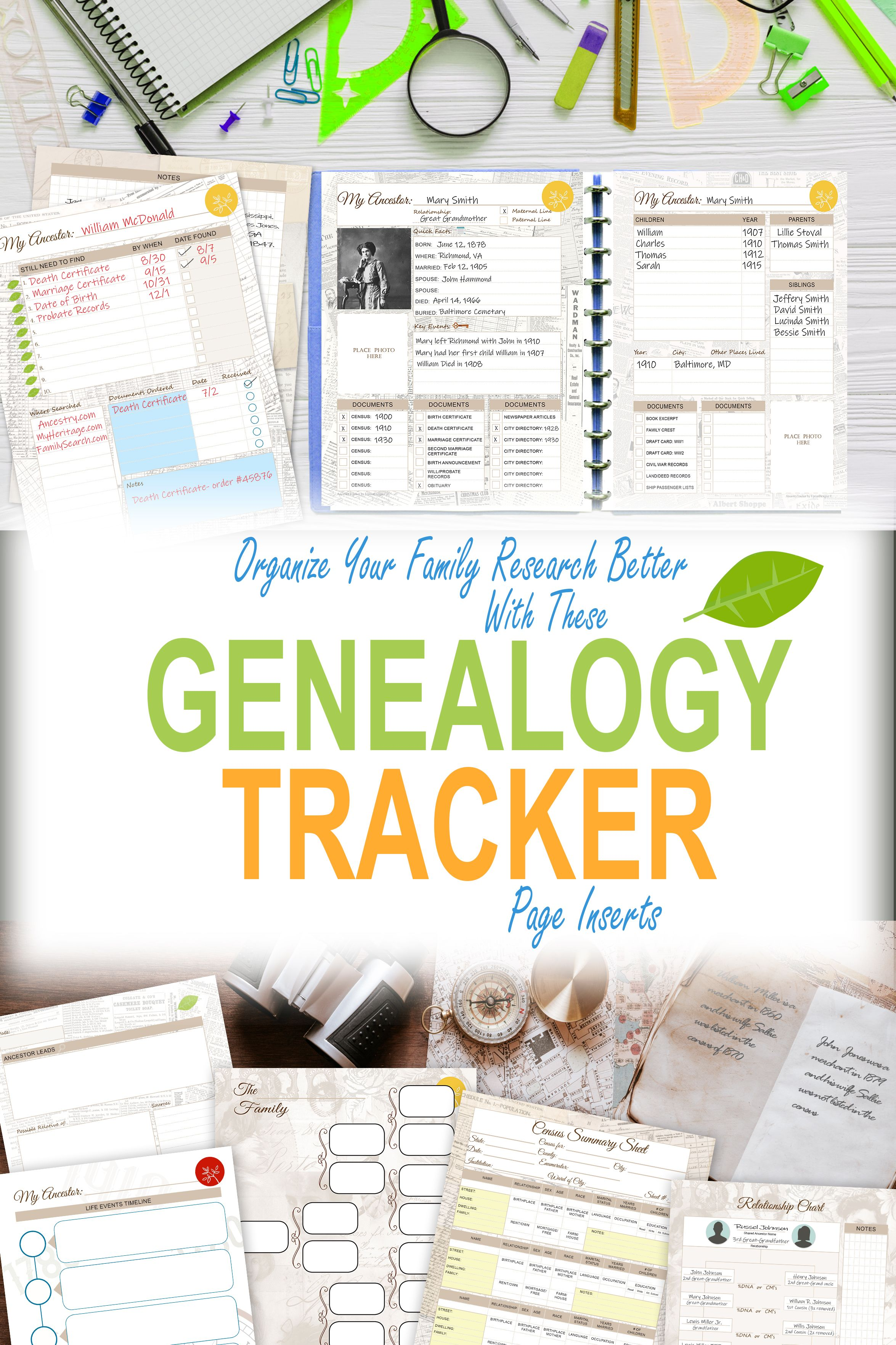 Genealogy printable half letter size 55 x 85
