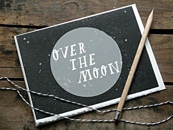 Over The Moon Card   Night Sky Edition by DEADWEIGHT on Etsy, $4.00