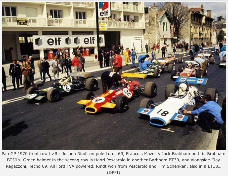 JackBrabham and Jochen Rindt: Lotus 69 FVA and Brabham BT30 FVA ...