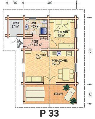Grundriss Ferienhaus P 33 Wochenendhaus, Haus und Ferienhaus