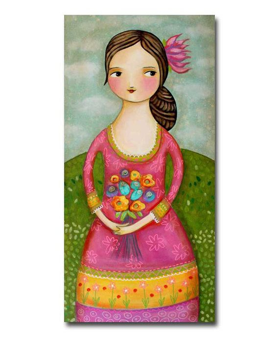 ORIGINAL tall canvas painting WOMAN with FLOWERS happy by tascha