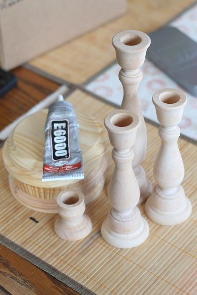 Pottery barn knock off candle holders and candles for Wooden candlesticks for crafts
