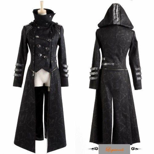 fda674f25e Black Gothic Calvary Hooded Goth Style Jackets and Long Coats Women ...