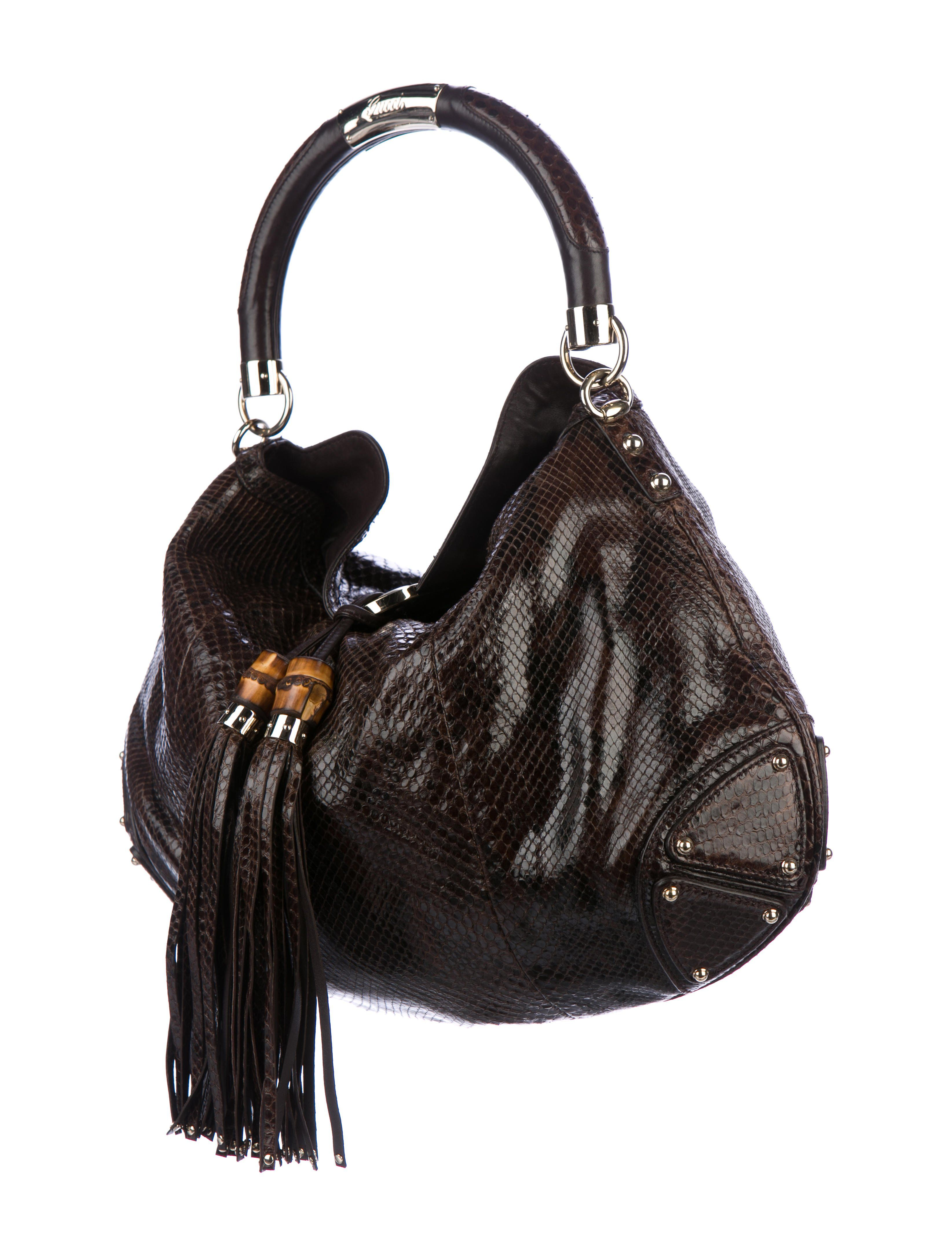 291d58bf5cc Cognac python Gucci Large Indy hobo with gold-tone hardware