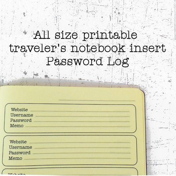 Printable travelers notebook insert Password book printable Midori