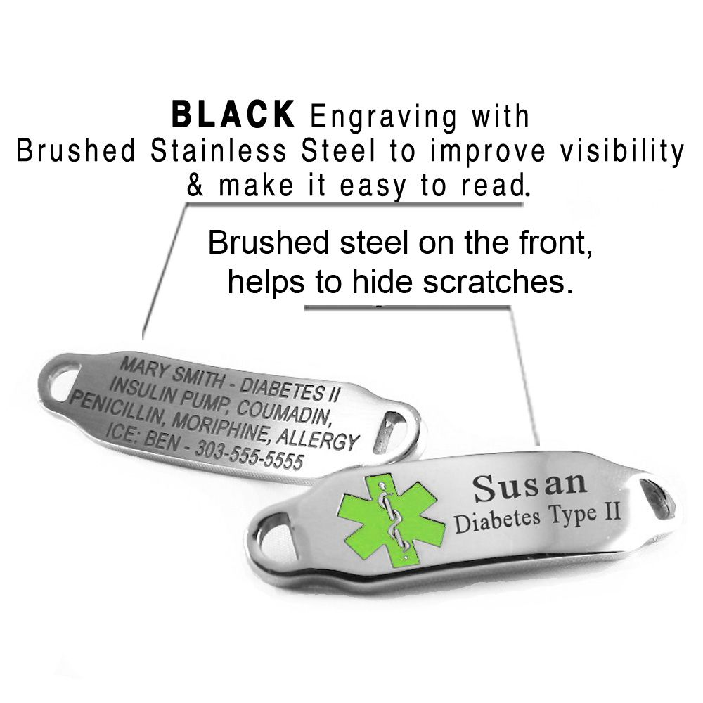 "Classic-2-Steel-Medical-ID-Bracelet-O-LINK-Chain-Lime-Green-i2LG will cost you: $46.99  -- ID Details --- • BLACK Engraving, Important For Your Safety ! (please see photos) • Brushed Steel Back • Non-Allergenic 2mm Thick Stainless Steel • Slightly Curved for Your Wrist • Size: 1.75"" x .4"" • 4 Lines available for custom engraving - FRONT & BACK  --- Bracelet Details --- • Stainless Steel O-LINK Chain (Non-Allergenic) • Custom Sized • Lobster Claw Clasp • 1.8mm (gauge)"