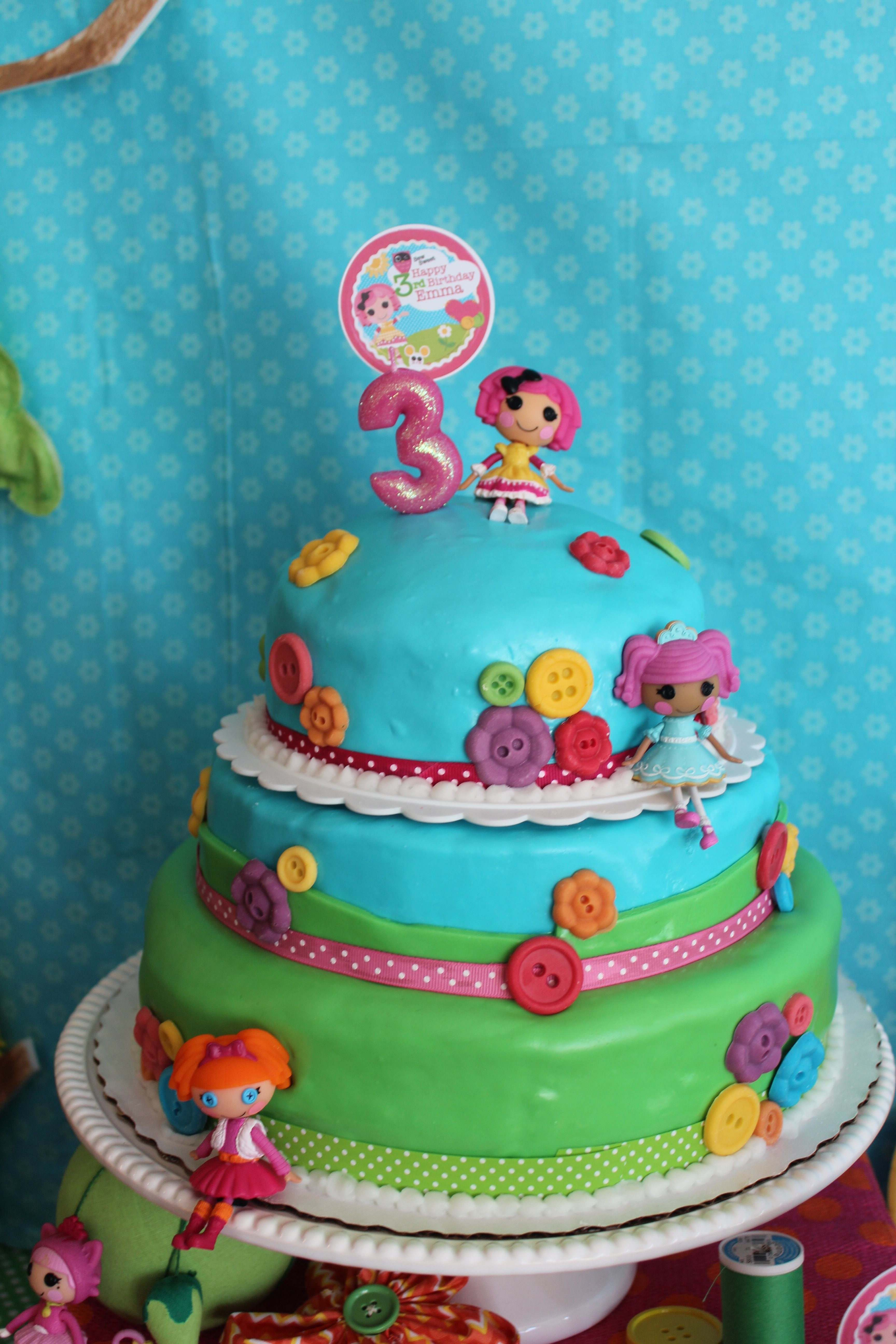 Lalaloopsy cake; I have the mini figs, ribbons and buttons. could ...