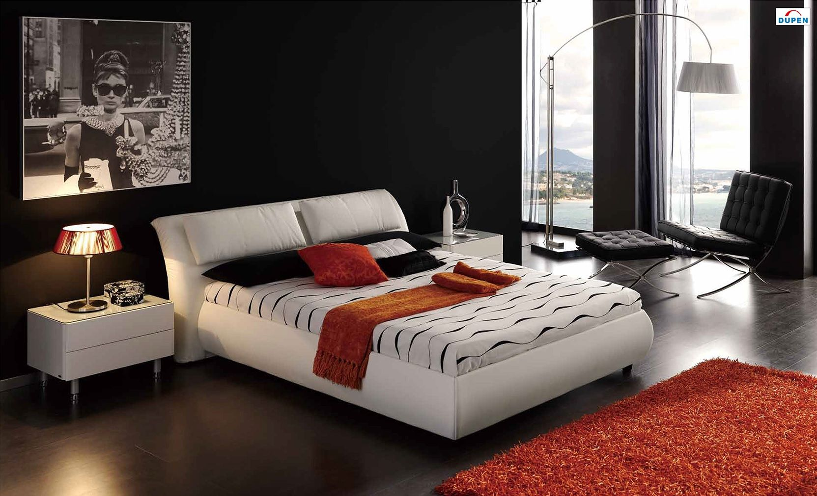 Meg 615 Bedroom Set In White Leather By Dupen, Made In Spain Https:/