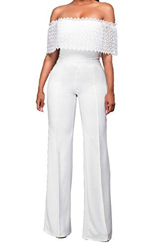 Womens Sexy Off Shoulder Long Pants Wide Leg Jumpsuits Rompers