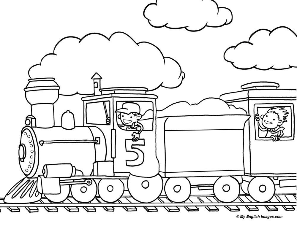 Train Outline Line Drawing Painting Kindergarten Worksheet