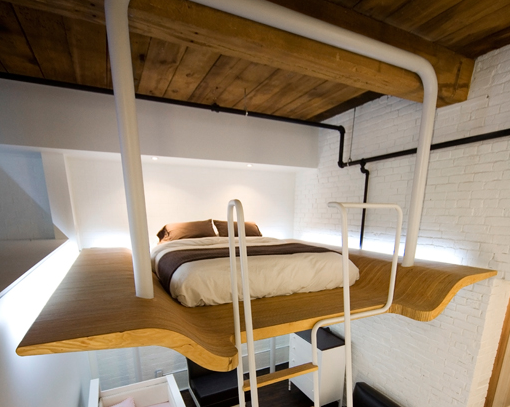 Suspended Bed Made Of Curved Douglas Fir Plywood And Tubular Steel.