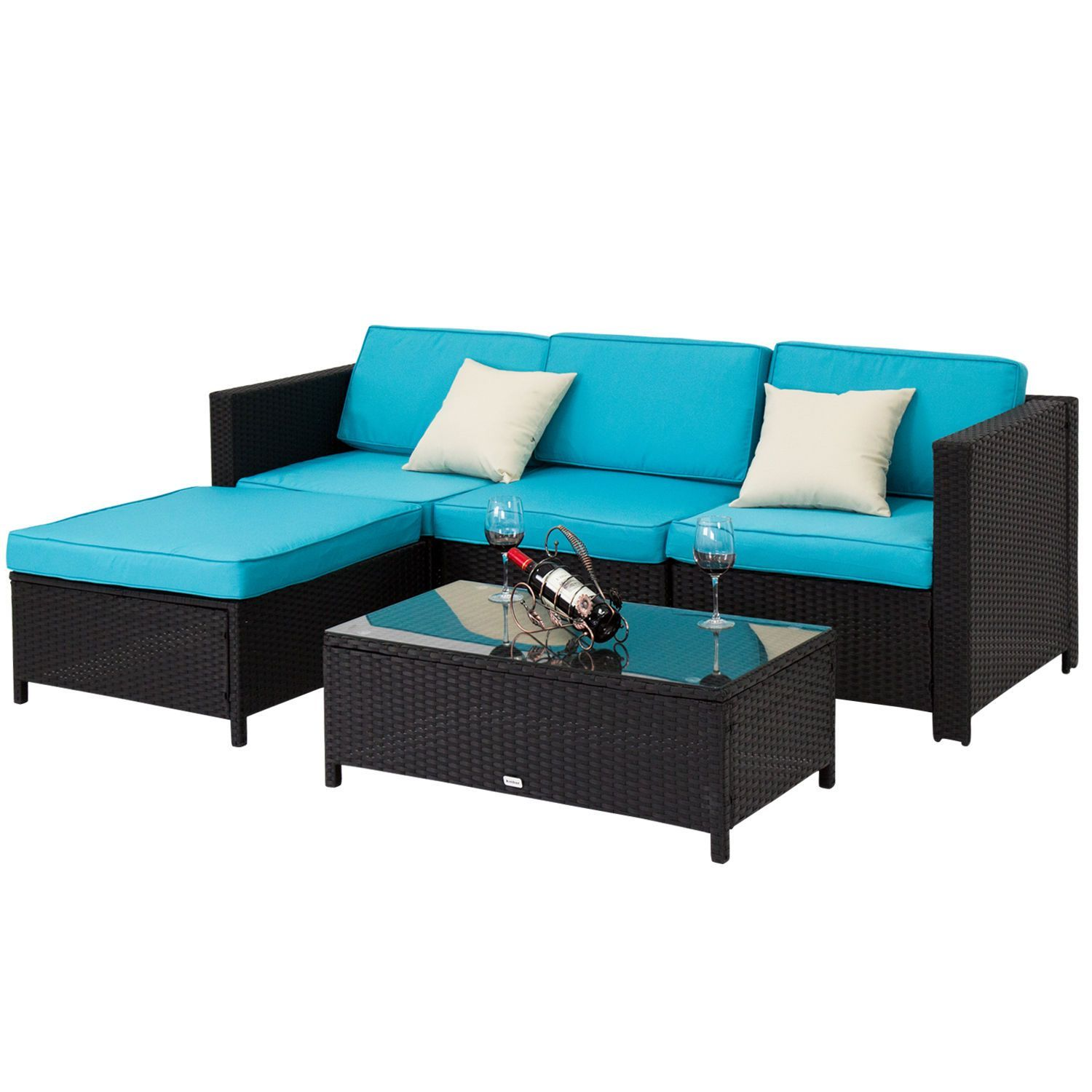 Nice pcs pe rattan wicker patio couch furnishings set outside