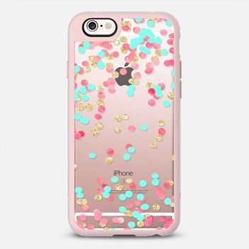 Christmas pink watercolor turquoise gold glitter confetti transparent by Girly Trend