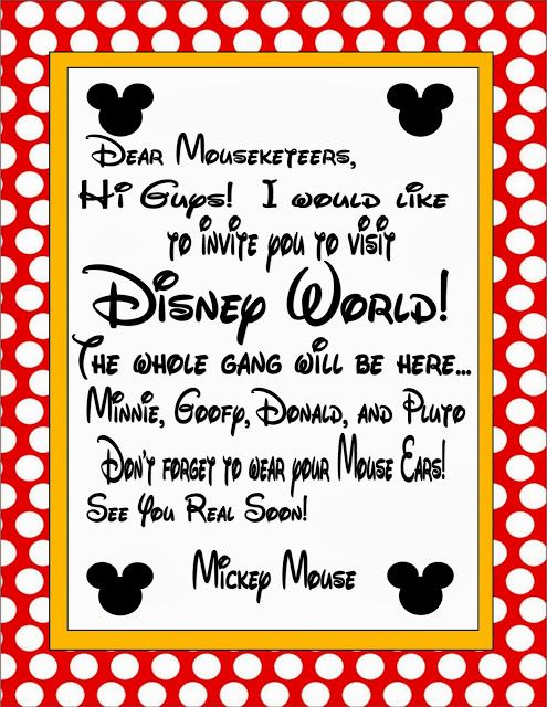 image relating to You're Going to Disneyland Printable named Cost-free Printable: Invitation for Disney World wide Holiday Disney