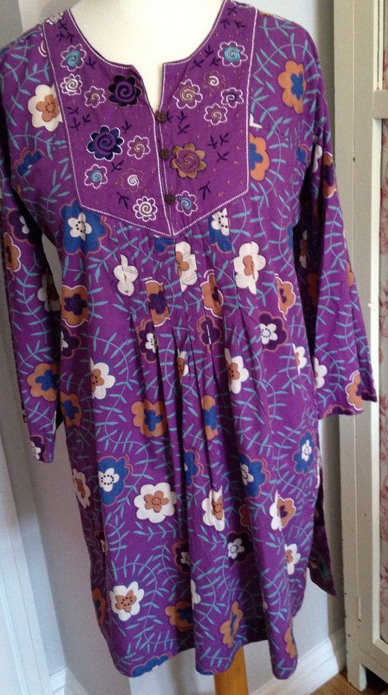 Gudrun Sjoden Purple Floral Organic Cotton Tunic Dress M #GudrenSjoden #TunicDress #Casual
