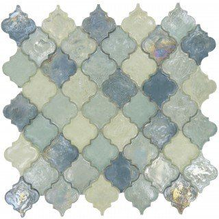 Heavenly Lagoon Blue Glossy & Iridescent Glass Tile