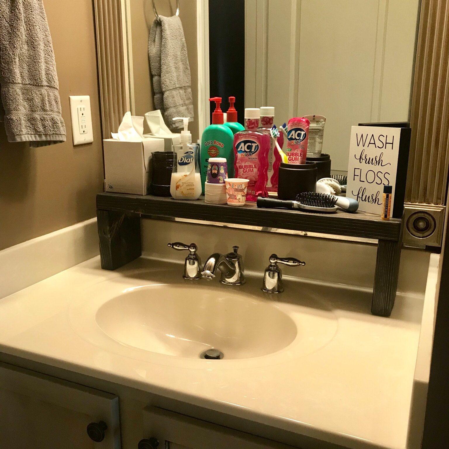 Rustic Wood Shelf, Bathroom Sink Shelf, Moden Farmhouse