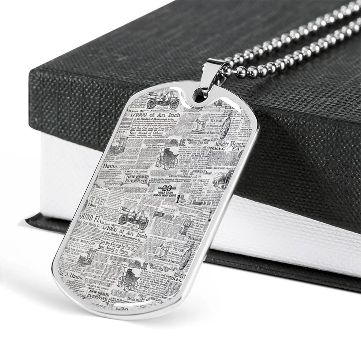 Old Newspaper Dog Tag With Military Ball Chain Jewelry Necklace Ball Chain Chain Jewelry Necklace Dog Tags