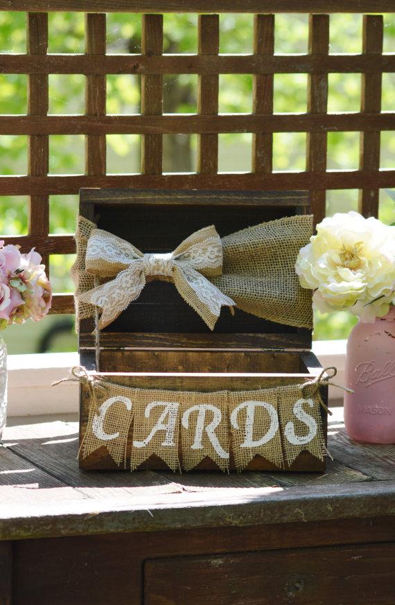 Rustic card box for wedding, burlap wedding card box, shabby chic ...