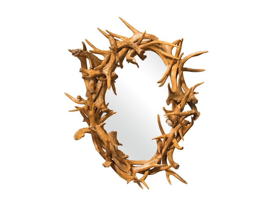 """www.foothillsamishfurniture.com -- Oval Antler Mirror -- Wildlife Lovers….this piece would look great in your cabin or lodge! Measurements: 16""""W x 24""""H Details: Made With Genuine Whitetail Deer Antler Sheds -- Do you love the rustic feel that antlers can bring to a room? Comment below!"""