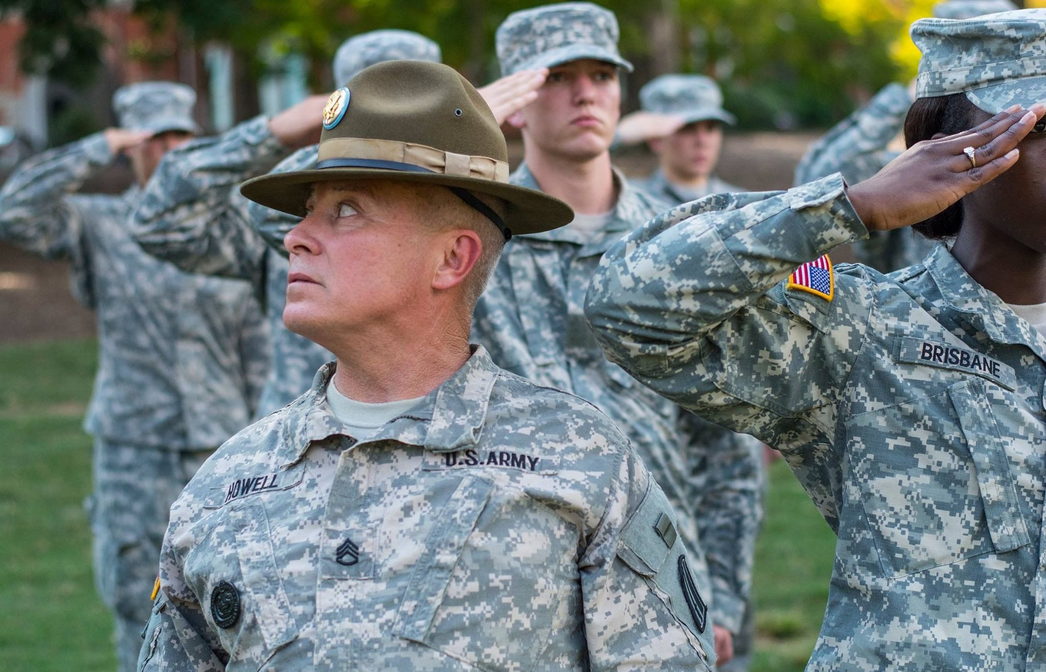 A U S  Army Reserve drill sergeant, assigned to the 98th