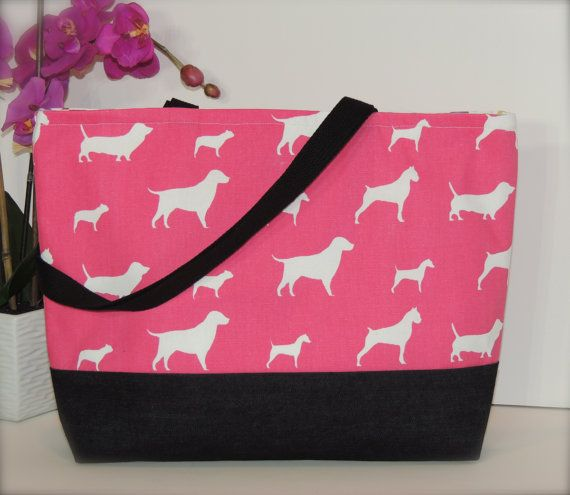Pink Dogs Pattern Cotton Canvas Handmade Women's by BugabooBags, $25.00