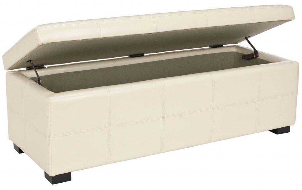 White Leather Storage Ottoman Bench Design Ideas   Bench   Pinterest ...