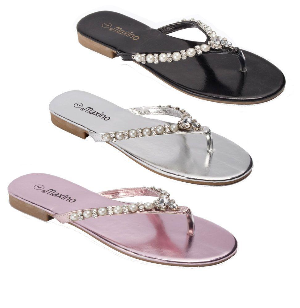 Ladies Women Slip On Summer Toe Post Pearls Sandal Flip Flops all Sizes