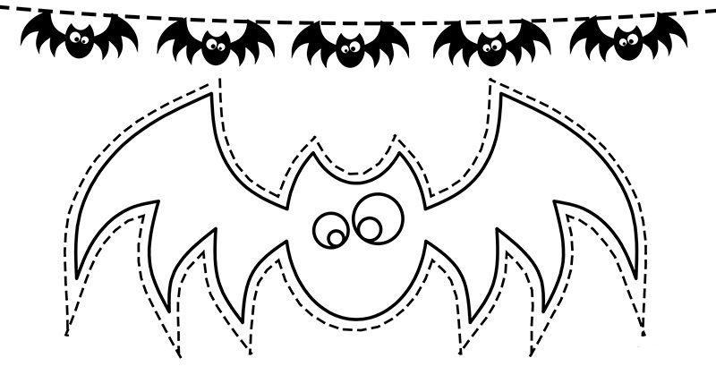 Dibujo Murcielago Para Recortar Halloween Guirnaldas De Halloween Halloween Para Colorear Siluetas De Halloween