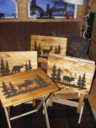 Perfect Made To Order Set Of Four Wood TV Tray By BlackRiverWoodshop, $290.00
