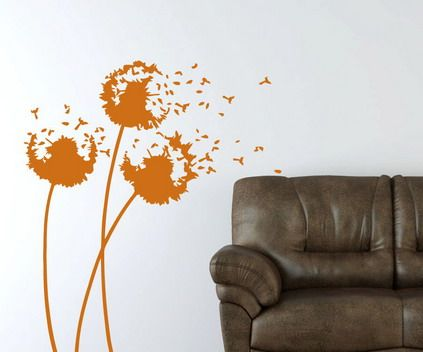 Abstract Orange Flowers Wall Murals in Bedroom Wall Art Decor
