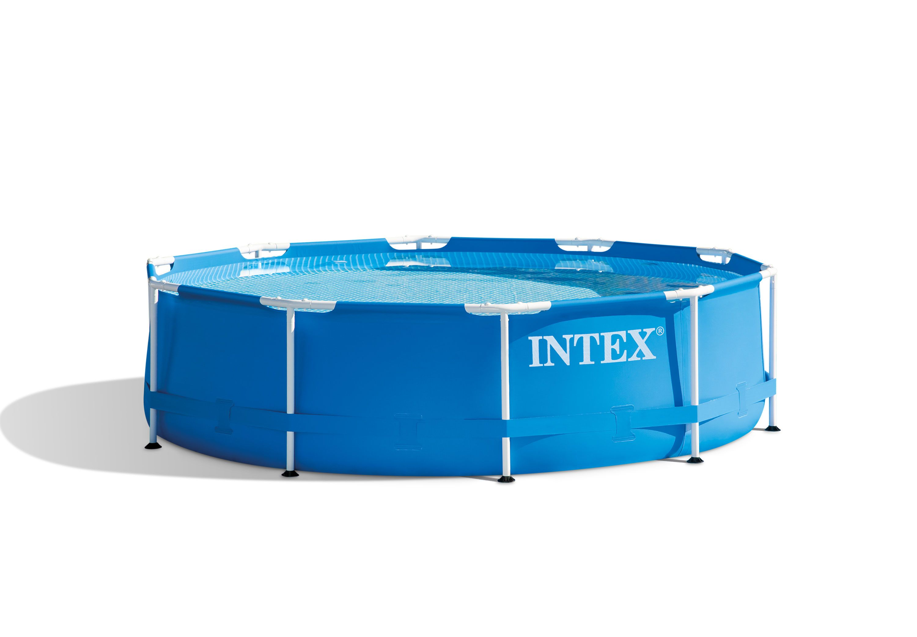 The INTEX Ultra Frame 14 Ft X 42 In Round Pool Set With 1,000 Gal Filter  Pump Features A Powder Coat Steel Frame And SUPER TOUGH™ Laminated  Sidewalls.