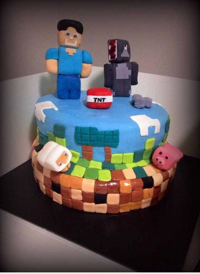 Minecraft Themed Cake For A 7 Year Old Boy With Images