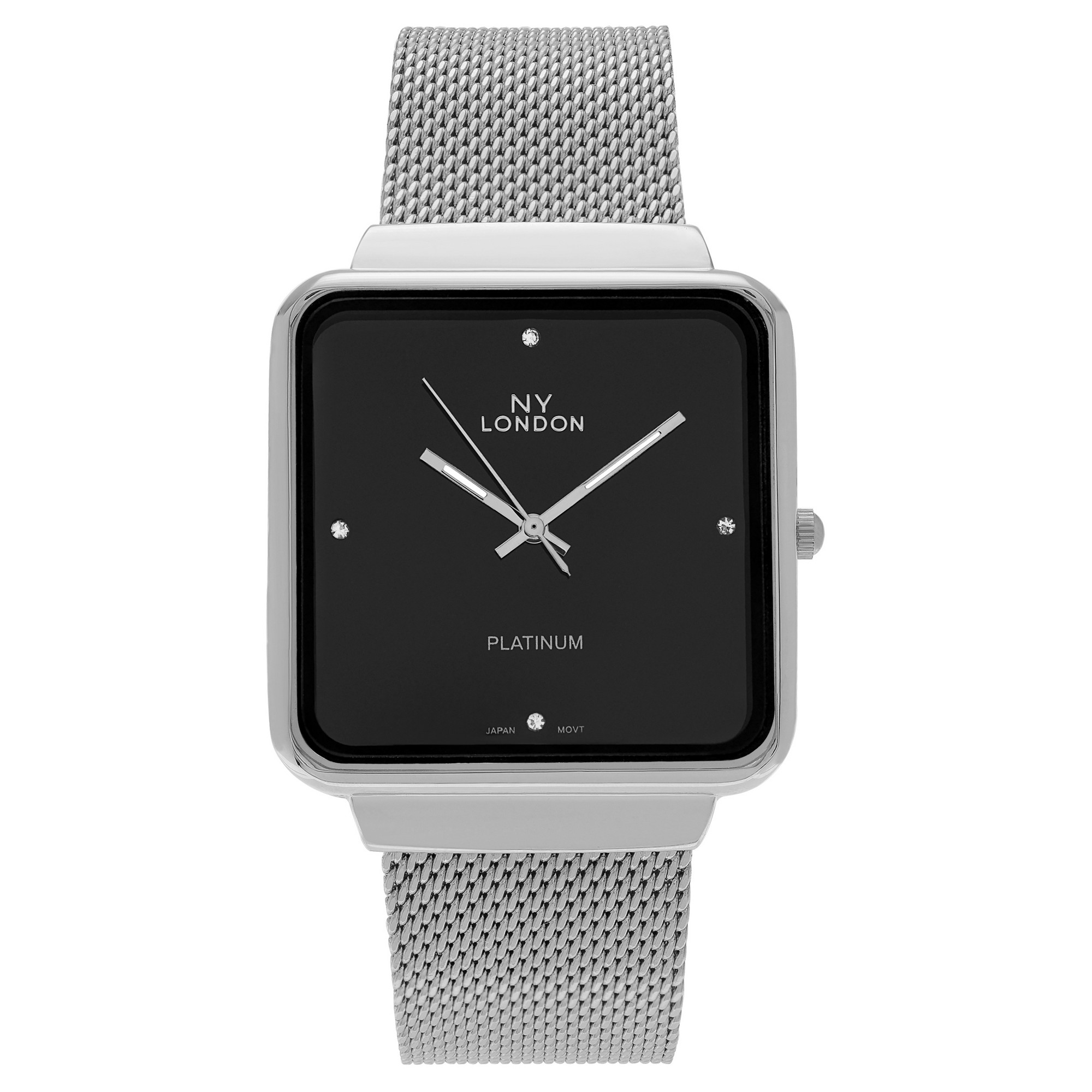 Women s NY London Square Face Rhinestone Accent Dial Mesh Link