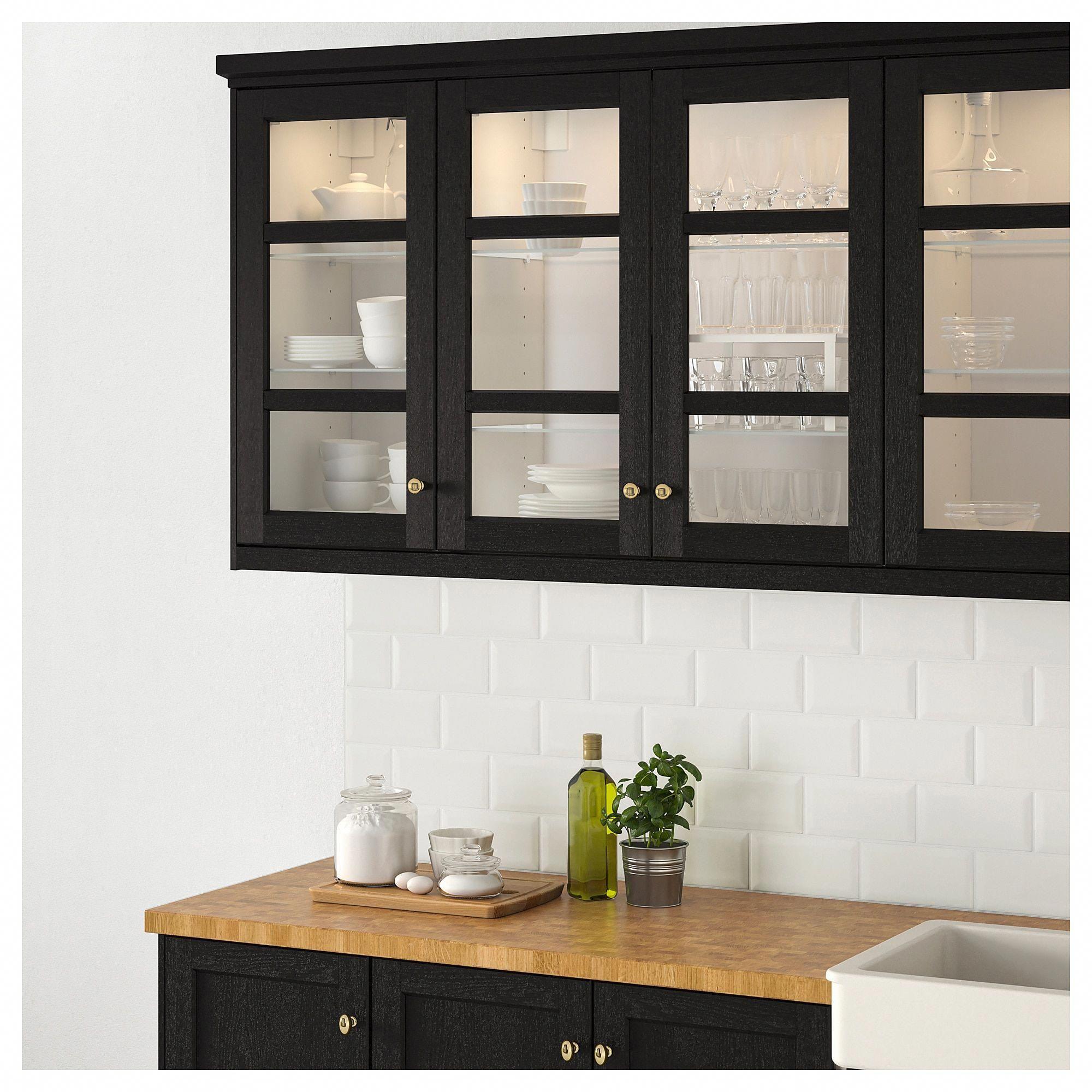 IKEA LERHYTTAN Black Stained Glass door # ...