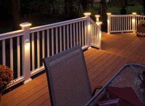 Three reasons to light your outdoor living space decking deck flat top led post sleeve cap in white and post sleeve light in white horizon provincial we will only use the down cast lighting on the posts the deck aloadofball Gallery