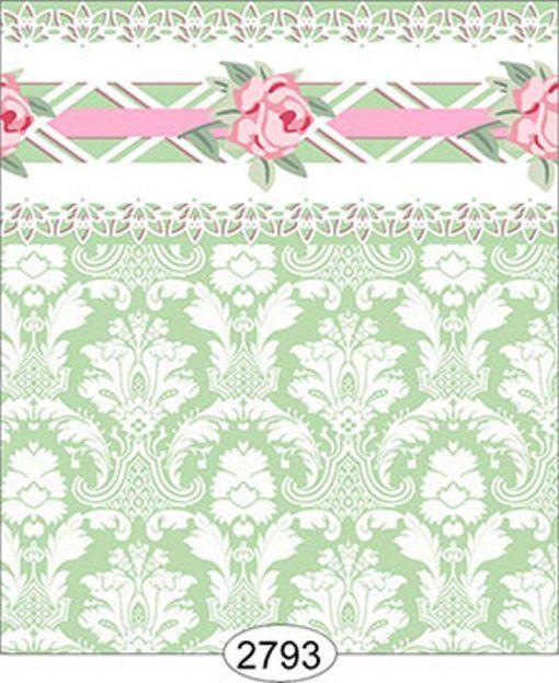 Daniella Floral Damask Olive No Border Dollhouse 1:12 Scale Wallpaper