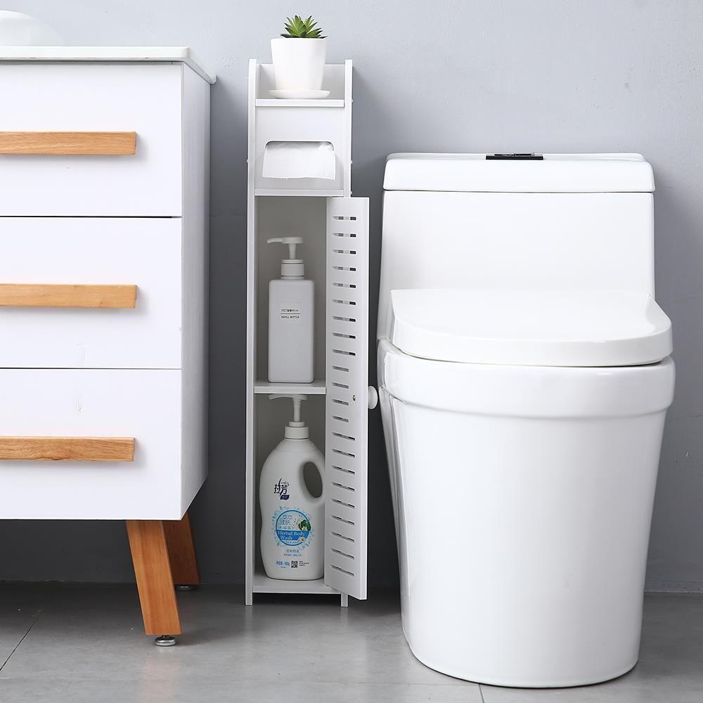 Thin Toilet Small Bathroom Storage Corner Floor Cabinet with Doors and Shelves
