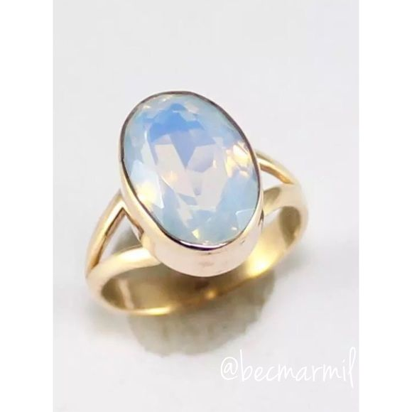 Moonstone Gold Ring  Natural FIRE OPALITE Moonstone Gemstone  Gold over .925 Sterling Silver  Uniquely Handcrafted one of a KIND piece  Brand New with Tags  Ring Size 8 - can be sized *pic 1&4 are the actual photos of the ring with no filters  Retail comes brand New from my Cali Vendor new packaging  • Please ask for specific measurements if needed • Feel free to purchase this listing or I can make you a personal separate bundle package w additional shipping discounts • fp inspired Free…