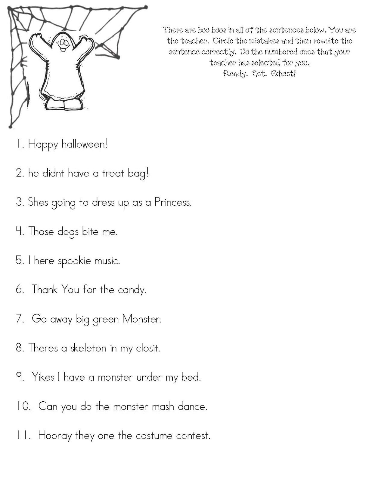 Ready Set Ghost Fix The Sentence Worksheet