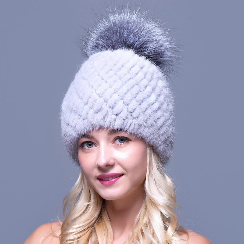 5 Color New Women/'s Real Genuine Winter Warm Fox Raccoon Fur Hat Cap Covered Ear