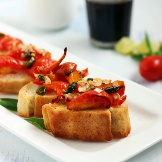 Quick and easy starter with baguette, cherry tomato bruschetta