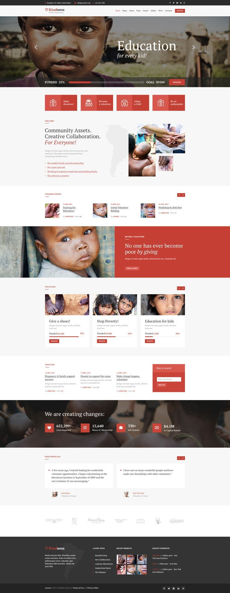 Kindness Wordpress Theme Has Modern And Functional Design Perfectly Suitable For Word Nonprofit Website Design Wordpress Website Design Agency Website Design