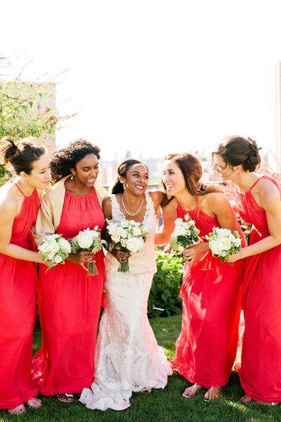 Coral Red Bridesmaid Dresses