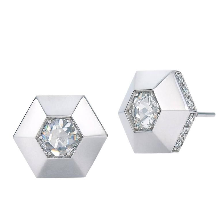 Fred Leighton Rose Cut Diamond Rimmed Hexagonal Platinum Stud Earrings See More Rare Vintage At