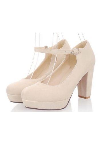 Beautiful Chunky Heel With Buckle And Platform Wedding Shoes