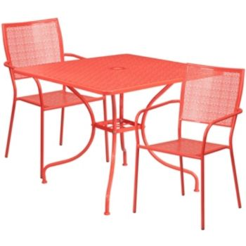 35 5 Square Coral Indoor Outdoor Steel Patio Table Set With 2