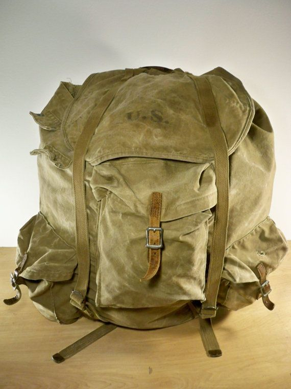 69d4f32c4aa1 Vintage WWII World War 2 Dated 1942 US ARMY Canvas Leather Rucksack ...